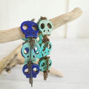 Jewelry - Skull Stretch Bracelet Set Bundle Chain Fringe